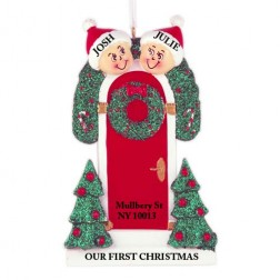 Holly Door Family of 2 Personalized Christmas Ornament