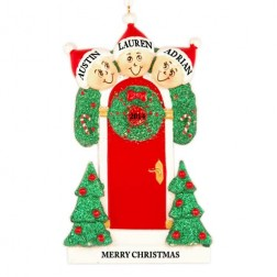 Holly Door Family of 3 Personalized Christmas Ornament