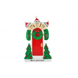 Image of Holly Door Family of 3 Personalized Christmas Ornament