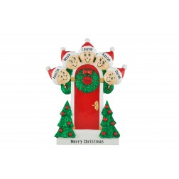 Image for Holly Door Family of 5 Personalized Christmas Ornament