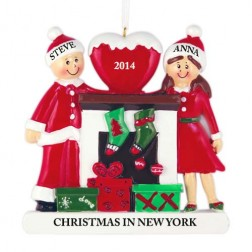 Fireplace Buddies Family of 2 Personalized Christmas Ornament