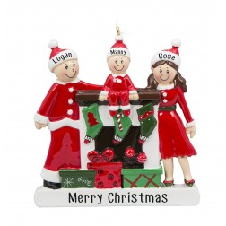 Image of Fireplace Buddies Family of 3 Personalized Christmas Ornament