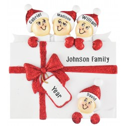 Image for Surprise Gift Box Family of 4 Personalized Christmas Ornament