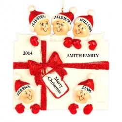 Surprise Gift Box Family of 5 Personalized Christmas Ornament