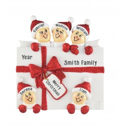 Image for Surprise Gift Box Family of 5 Personalized Christmas Ornament