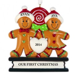 Gingerbread Love Family of 2 Personalized Christmas Ornament
