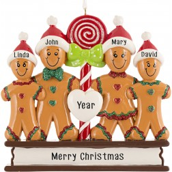 Image of Gingerbread Love Family of 4 Personalized Christmas Ornament