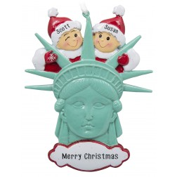 Image of Statue of Liberty Head Couple Personalized Christmas Ornament