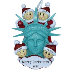 Image of Statue Of Liberty Head W/4 Family Personalization Ornament