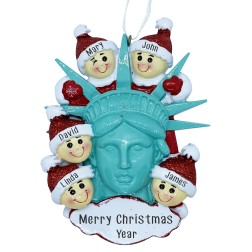 Image of Statue Of Liberty Head W/5 Family Personalization Ornament