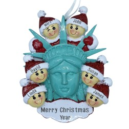 Image of Statue Of Liberty Head W/6 Family Personalization Ornament