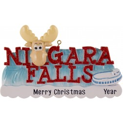 Image of Niagara Falls With Reindeer Personalized Christmas Ornament