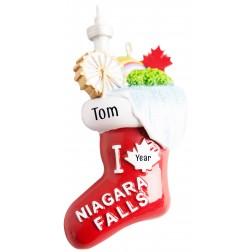 Image of Niagara Falls Stocking Personalized Christmas Ornament