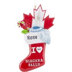 Image of Niagara Falls Stocking 3D Personalized Christmas Ornament