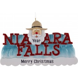 Image of Niagara Falls With Santa Personalized Christmas Ornament