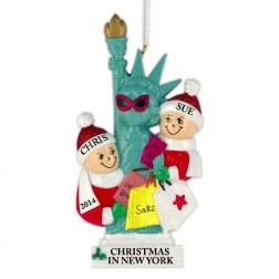 NYC Lady Liberty Family of 2 Personalized Christmas Ornament