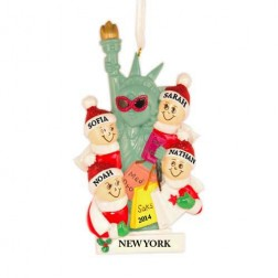 NYC Lady Liberty Family of 4 Personalized Christmas Ornament