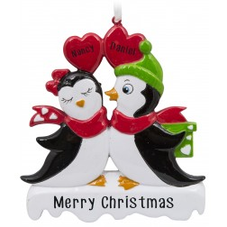 Image of Penguin Kissing Couple Personalized Christmas Ornament