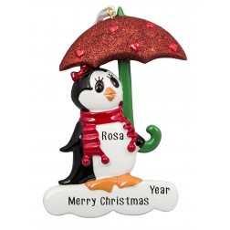 Image of Penguin with Umbrella Red Personalized Christmas Ornament