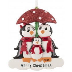 Image of Penguin with Umbrella of 3 Personalized Christmas Ornament