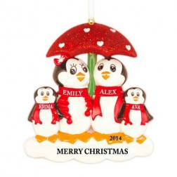 Penguin with Umbrella of 4 Personalized Christmas Ornament