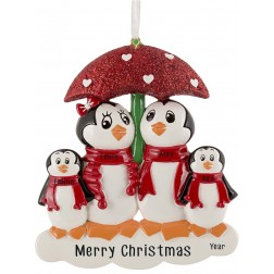 Image of Penguin with Umbrella of 4 Personalized Christmas Ornament