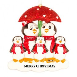 Penguin with Umbrella of 5 Personalized Christmas Ornament