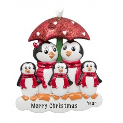 Image of Penguin with Umbrella of 5 Personalized Christmas Ornament