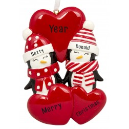 Image of Penguin Love Family of 2 Personalized Christmas Ornament