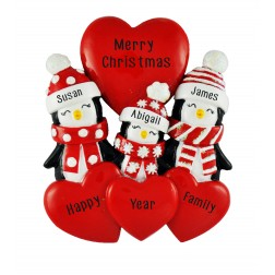 Image for Penguin Love Family of 3 Personalized Christmas Ornament
