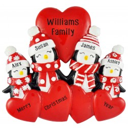 Image of Penguin Love Family of 4 Personalized Christmas Ornament