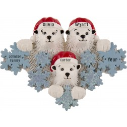 Image for Polar Bear Snowflake Family of 3 Personalized Christmas Ornament