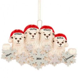 Polar Bear Snowflake Family of 4 Personalized Christmas Ornament