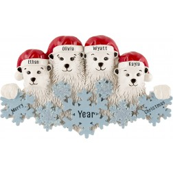 Image of Polar Bear Snowflake Family of 4 Personalized Christmas Ornament