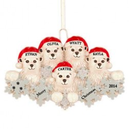 Polar Bear Snowflake Family of 5 Personalized Christmas Ornament