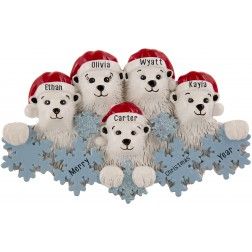 Image for Polar Bear Snowflake Family of 5 Personalized Christmas Ornament
