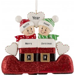 Image of Santa`s Boot Family of 2 Personalized Christmas Ornament
