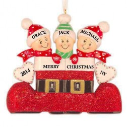 Santa`s Boot Family of 3 Personalized Christmas Ornament