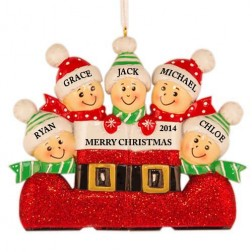 Santa`s Boot Family of 5 Personalized Christmas Ornament
