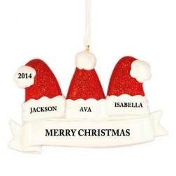 Santa Hat Family of 3 Personalized Christmas Ornament