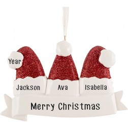 Image for Santa Hat Family of 3 Personalized Christmas Ornament