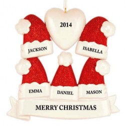 Santa Hat Family of 5 Personalized Christmas Ornament