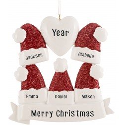 Image for Santa Hat Family of 5 Personalized Christmas Ornament