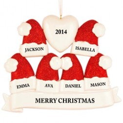Santa Hat Family of 6 Personalized Christmas Ornament