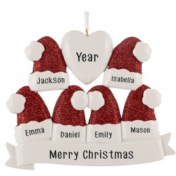 Image for Santa Hat Family of 6 Personalized Christmas Ornament