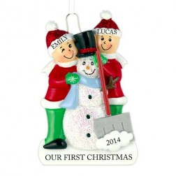 Snowman Making Family of 2 Personalized Christmas Ornament