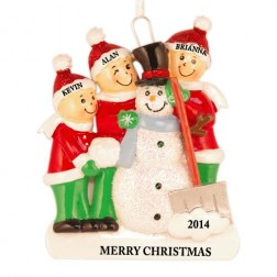 Snowman Making Family of 3 Personalized Christmas Ornament
