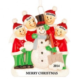 Snowman Making Family of 4 Personalized Christmas Ornament