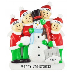 Image of Snowman Making Family of 4 Personalized Christmas Ornament