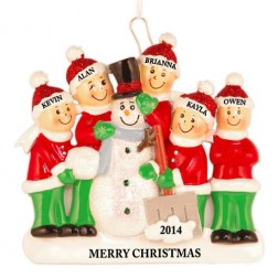 Snowman Making Family of 5 Personalized Christmas Ornament